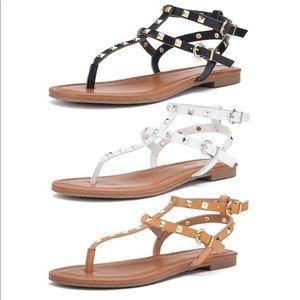 CANDIES ~ nude & gold gladiator sandals Valentino